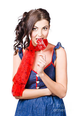 Lollipop Photograph - Glamorous Girl Eating Lollipop. Eat Your Heart Out by Jorgo Photography - Wall Art Gallery