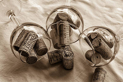 Glasses Of Corks Toned Print by Georgia Fowler