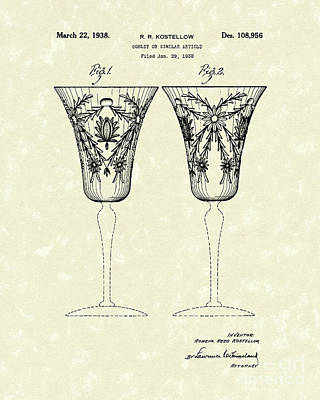 Glass Art Drawing - Goblet 1938 Patent Art by Prior Art Design