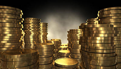 Gold Coin Stacks Print by Allan Swart