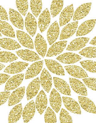 Glitter Painting - Gold Glitter Flower by Tamara Robinson