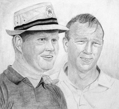Arnold Palmer Drawing - Golden Bear And The King by Steve Keller