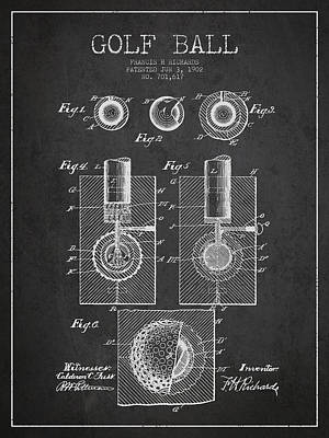 Caddy Digital Art - Golf Ball Patent Drawing From 1902 by Aged Pixel