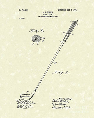 Golf Drawing - Golf Club 1903 Patent Art by Prior Art Design