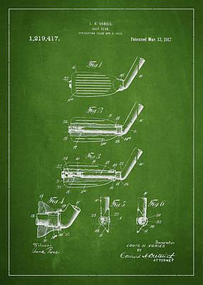 Golf Club Digital Art - Golf Club Patent Drawing From 1917 by Aged Pixel