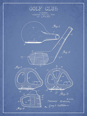 Golf Drawing - Golf Club Patent Drawing From 1926 by Aged Pixel