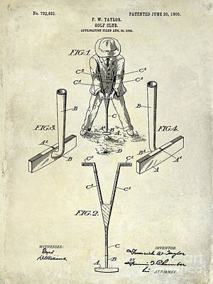 Iron Photograph - Golf Club Patent Drawing by Jon Neidert