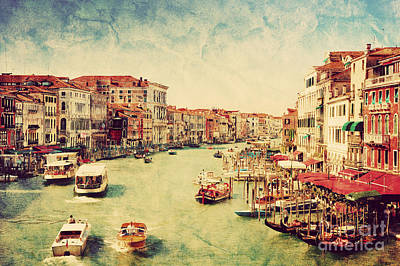Card Photograph - Gondolas On Grand Canal In Venice by Michal Bednarek