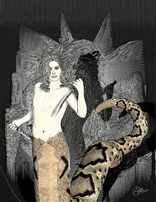 Gorgon Digital Art - Gorgon Medusa  by Quim Abella