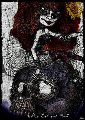 Gothic Girl And Skull Print by Akiko Kobayashi
