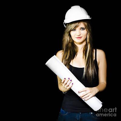 Graduate Engineer Holding Construction Design Plan Print by Jorgo Photography - Wall Art Gallery