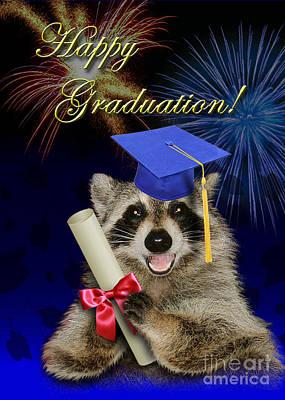 Tassel Digital Art - Graduation Raccoon by Jeanette K
