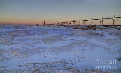 Grand Haven At Sunrise Print by Twenty Two North Photography