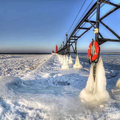 Grand Haven Pier In Winter Print by Twenty Two North Photography