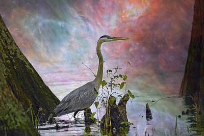 Great Blue Heron In A Heavenly Mist Print by J Larry Walker