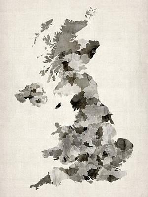 United Kingdom Map Digital Art - Great Britain Uk Watercolor Map by Michael Tompsett