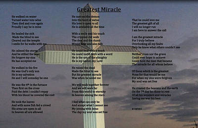 Greatest Miracle Print by Cliff Ball