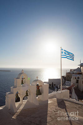 Landscape Photograph - Greece Flag Waving At Sunset by Matteo Colombo