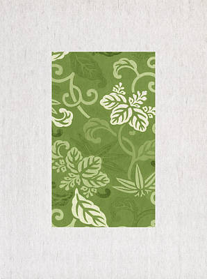 Green Flowers Print by Aged Pixel