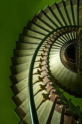 Gold Tone Photograph - Green Spiral Staircase by Jaroslaw Blaminsky