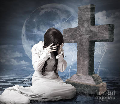 Grieving Gothic Girl Crying Next To Gravestone Print by Jorgo Photography - Wall Art Gallery