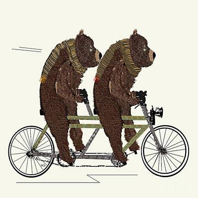 Cuddly Digital Art - Grizzly Days Lets Tandem by Bri B