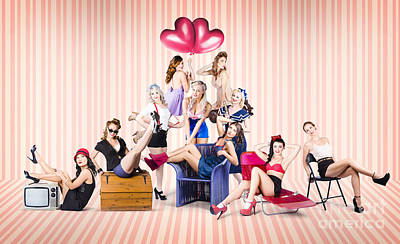 50s Photograph - Group Of 10 Beautiful Pinup Girls In Retro Fashion by Jorgo Photography - Wall Art Gallery