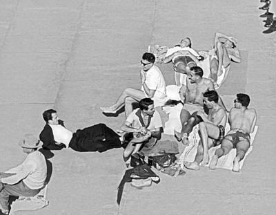 Sunbathers Photograph - Group Of Men Sunbathing by Underwood Archives