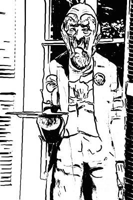 Liberal Digital Art - Grumpy Old Waiter Carving Key West - Digital by Ian Monk