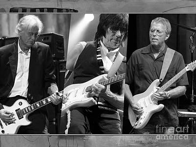 Guitar Legends Jimmy Page Jeff Beck And Eric Clapton Print by Marvin Blaine