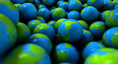Gum Ball Earth Globes Print by Allan Swart