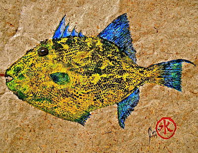 Triggerfish Mixed Media - Gyotaku - Triggerfish - Queen Triggerfish by Jeffrey Canha