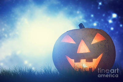 Haunted Photograph - Halloween Pumpkin Glowing In Dark Misty Scenery With Gothic Castle And Moon by Michal Bednarek