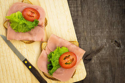 Lettuce Photograph - Ham Sandwiches by Aged Pixel