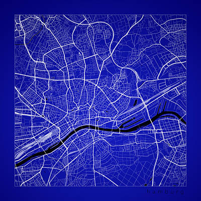 Hamburg Digital Art - Hamburg Street Map - Hamburg Germany Road Map Art On Color by Jurq Studio