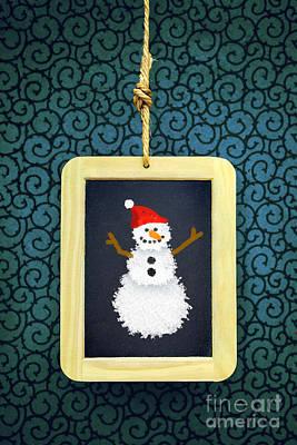 Hanged Xmas Slate - Snowman Print by Carlos Caetano