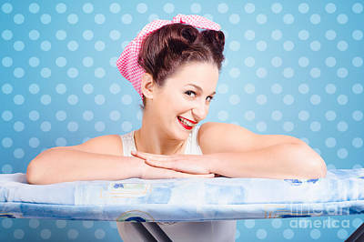 Happy 60s Pinup Housewife On Blue Ironing Board Print by Jorgo Photography - Wall Art Gallery
