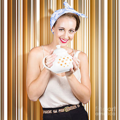 Happy Cafe Waitress Holding Hot Coffee Kettle Print by Jorgo Photography - Wall Art Gallery