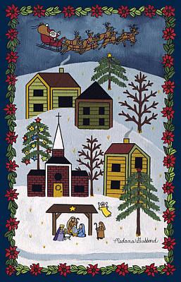 Nativity Painting - Happy Christmas by Medana Gabbard