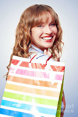 Happy Female Retail Shopper With Bag And Smile Print by Jorgo Photography - Wall Art Gallery