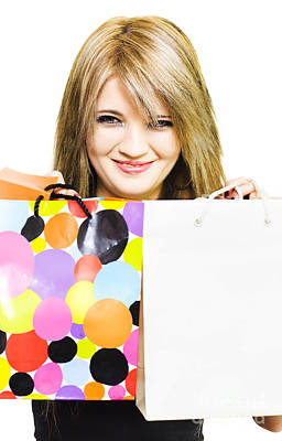 Happy Smiling Woman Holding Shopping Bags Print by Jorgo Photography - Wall Art Gallery