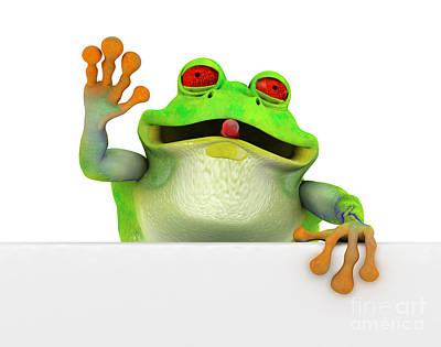 Frog Digital Art - Happy Toon Frog With A White Banner by Michal Bednarek