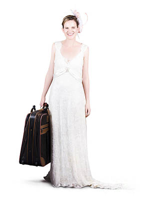 Happy Young Bride Holding Suitcase Print by Jorgo Photography - Wall Art Gallery