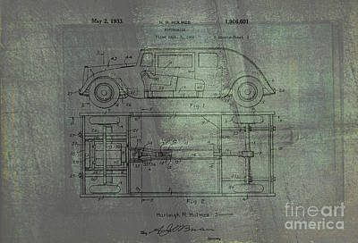 Historic Vehicle Mixed Media - Harleigh Holmes Automobile Patent From 1932 by Doc Braham