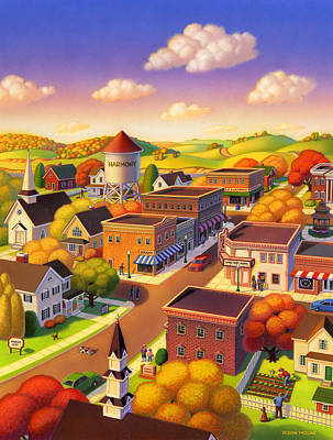 Small Towns Painting - Harmony Town by Robin Moline