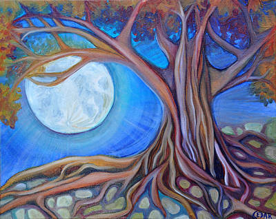 Tree Roots Painting - Harvest Moon by Cedar Lee