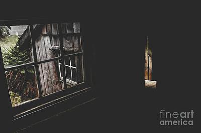 Haunted House Window View Of Open Door In Darkness Print by Jorgo Photography - Wall Art Gallery