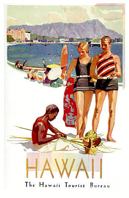 Airlines Drawing - Hawaii Vintage Travel Poster by Jon Neidert