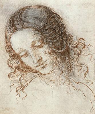 Leda Painting - Head Of Leda by Leonardo Da Vinci