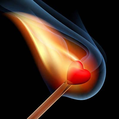 Icon Mixed Media - Heart Series Love Flaming Hearts by Tony Rubino